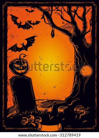 Halloween night, pumpkin, mouse, spider, old tree background, illustration - stock vector
