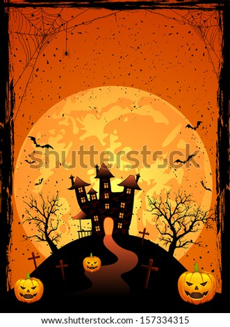 Halloween night, Scary House on the moon background, illustration. - stock vector