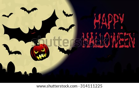 Halloween.Night sky with moon and bat with pumpkin. Vector illustration