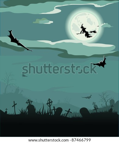 Halloween night, vector illustration (bat,grave, gravestone, graveyard, moon, house, tree, witch) - stock vector
