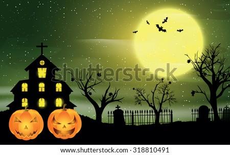 Halloween night, vector illustration. Halloween Haunted House. - stock vector