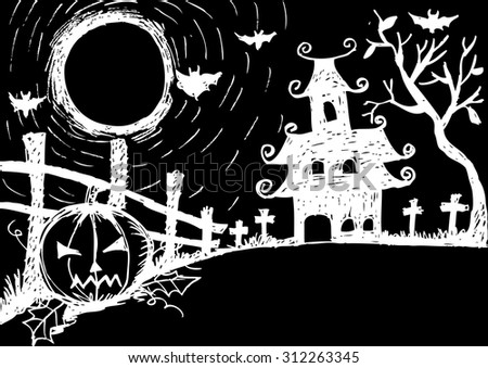 Halloween night, white castle on the moon background - stock vector