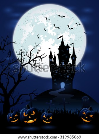 Halloween night with dark castle, Moon and pumpkins, illustration. - stock vector