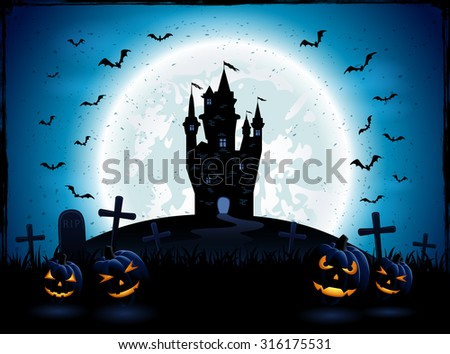Halloween night with pumpkins, and castle on blue Moon background, illustration. - stock vector