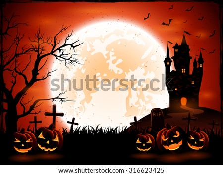 Halloween night with pumpkins and dark castle on Moon background, illustration. - stock vector
