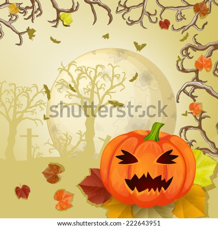 Halloween night with pumpkins - background with place for text