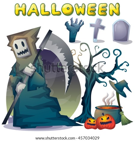 halloween object vector cartoon with separated layers for game and animation, game design asset