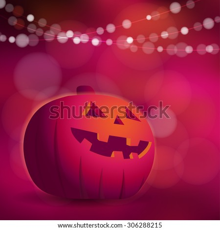 Halloween or Dia de los muertos greeting card, invitation with freaky pumpkin and lights, vector illustration  - stock vector