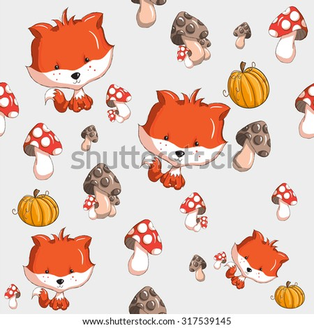 Halloween or Thanksgiving seamless pattern - every object grouped for easy use