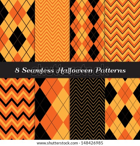halloween orange black and brown argyle and chevron patterns perfect as halloween or thanksgiving - Black And Orange Halloween
