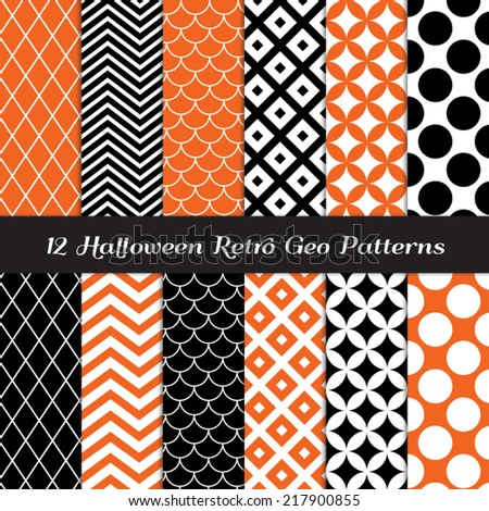 Halloween Orange, Black and White Retro Geometric Patterns. Mod Backgrounds in Jumbo Polka Dot, Diamond Lattice, Scallops, Quatrefoil and Chevron. Pattern Swatches included and made with Global Colors - stock vector