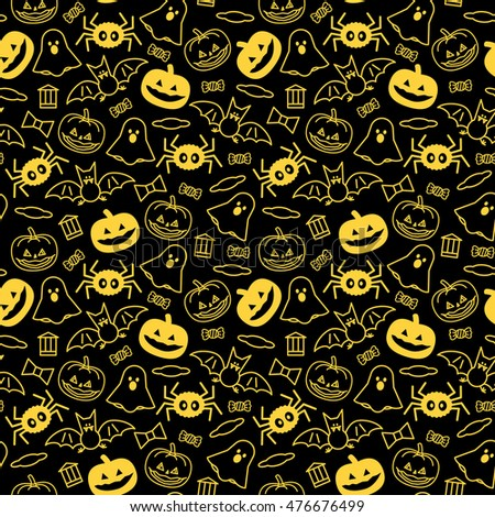 Halloween orange festive seamless pattern