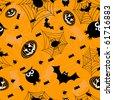 Halloween orange seamless. Vector illustration - stock photo