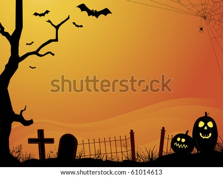 Halloween orange sunset cemetery  with bats, pumpkins, old tree, and gradient fog background - stock vector