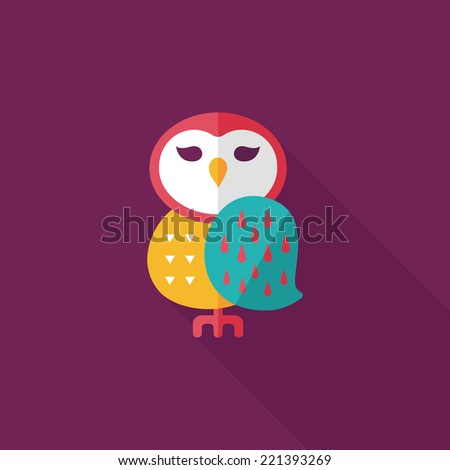 halloween owl flat icon with long shadow,eps10