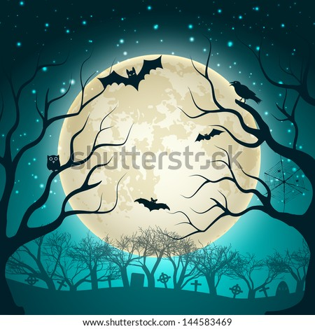 Halloween Party Background. Vector Illustration, eps10, contains transparencies. - stock vector