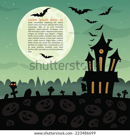 Halloween party background with haunted house, graves, bats, owl and full moon