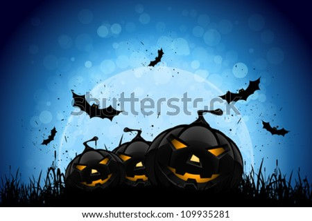 Halloween Party Background with Pumpkins in the Grass Bats and Moon in the Back - stock vector