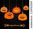 Halloween Party Background with Pumpkins. Vector Illustration - stock vector