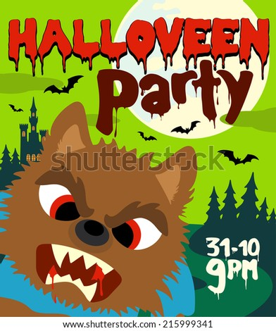 Halloween party background with werewolf,green - stock vector