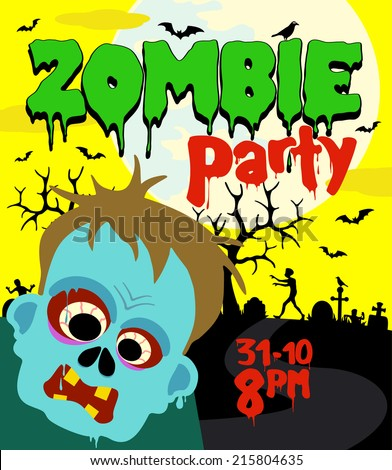 Halloween party background with zombie vector ,yellow - stock vector