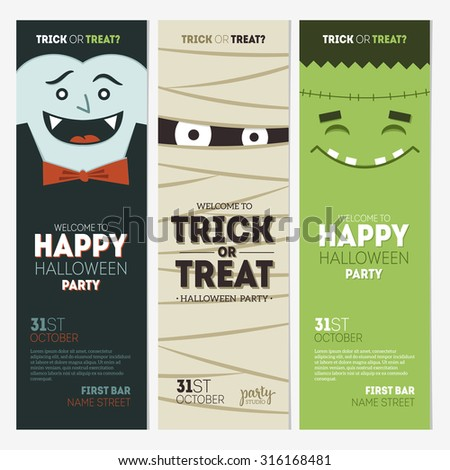 Halloween party banner collection. Vector illustration - stock vector