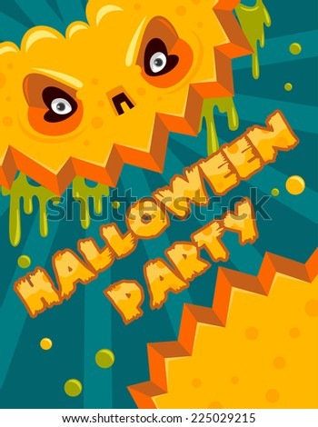 Halloween party banner postcard poster - stock vector