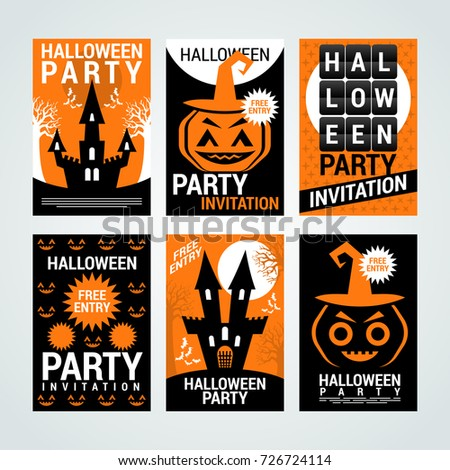 Halloween party banners flyers invitation cards stock vector 2018 halloween party banners flyers invitation cards coupons halloween party invitation vector stopboris Gallery