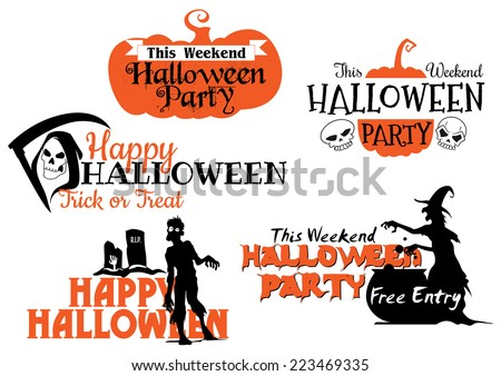 Halloween party banners set with orange pumpkins, zombie, cemetery, witch, death skull and tombstones - stock vector