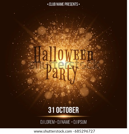 halloween party beautiful text in the style of horor abstract large bright flash of