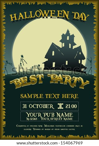Halloween Party - Best Party - stock vector