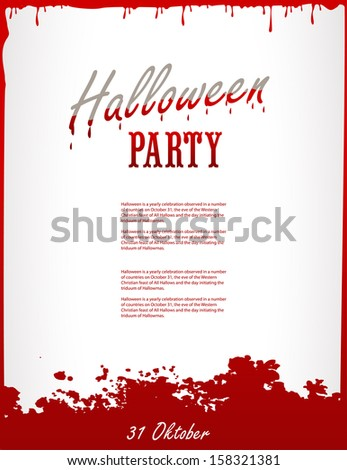 Halloween party blood poster. Happy holiday - stock vector