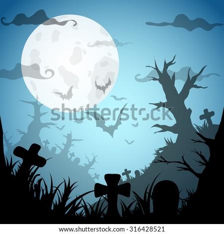 Halloween Party BlueOld Movie Style  Background. Vector illustration - stock vector
