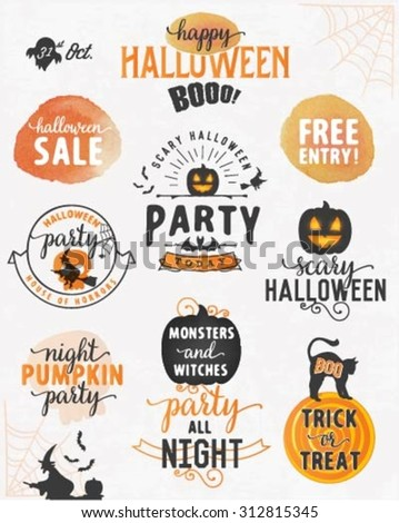 Halloween Party Design Elements and Badges in Vintage Style - stock vector