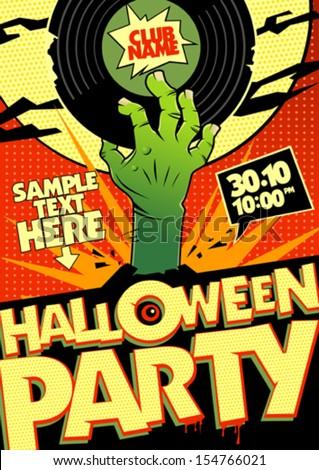 Halloween party design in pop-art style. - stock vector