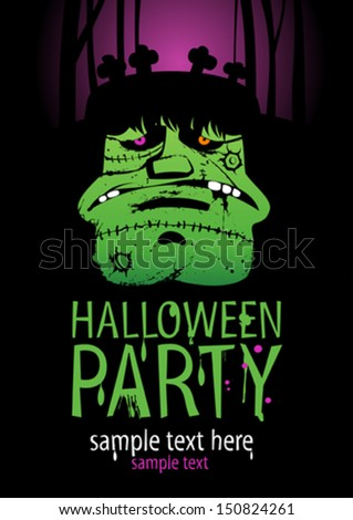 Halloween Party Design template, with Frankenstein. - stock vector