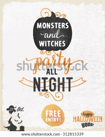 Halloween Party Design Template with Pumpkin and Witch in Vintage Style - stock vector