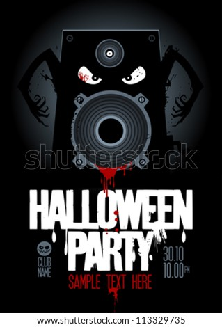 Halloween Party Design template, with wicked bloody speaker and place for text. - stock vector