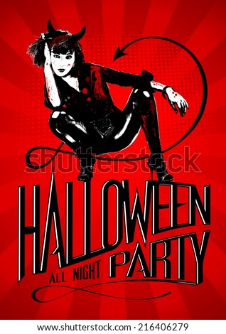 Halloween party design with devil woman. - stock vector