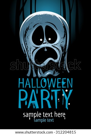 Halloween party design with screaming ghost. - stock vector
