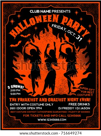 Halloween Party Flyer Template Witches Dancing Stock Vector