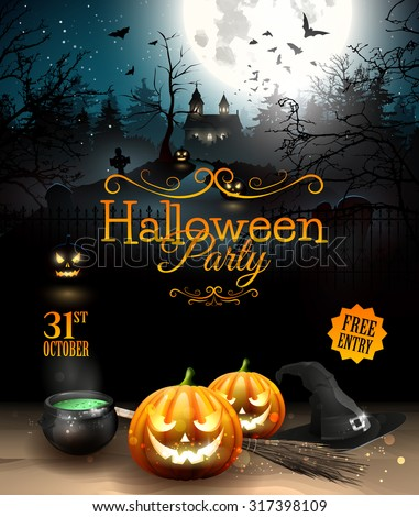 Halloween party flyer with pumpkins, hat, pot and old broom in front of scary castle - stock vector