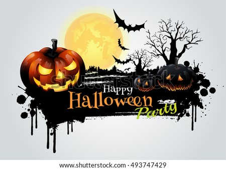 Halloween party greeting card.-vector illustration
