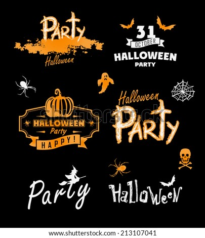 Halloween party. Happy holiday. Vector silhouettes  - stock vector