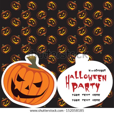 Halloween party invitation and background - stock vector