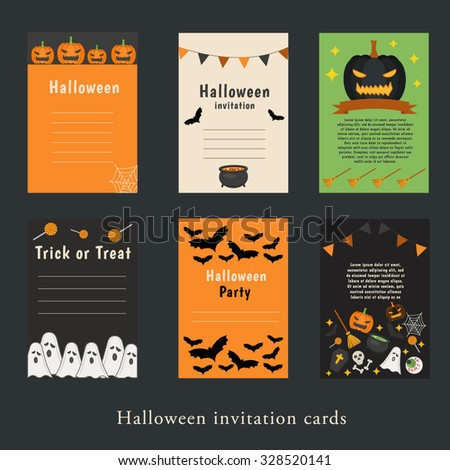 Halloween Party Invitation Greeting Card Flyer Stock Vector HD