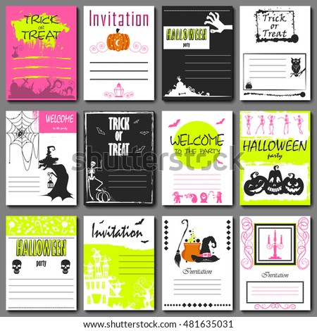 Halloween party invitation and greeting card, flyer, banner, poster templates. Hand drawn traditional symbols, cute design elements, handwritten ink lettering.