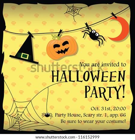 halloween party invitation card stock vector   shutterstock, invitation samples