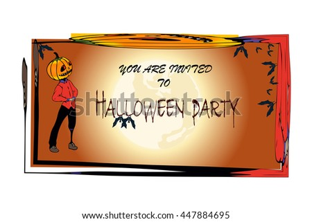 Halloween Party. Invitation Card for Halloween Party with Pumpkin and buts. You are invited to Halloween Party. - stock vector