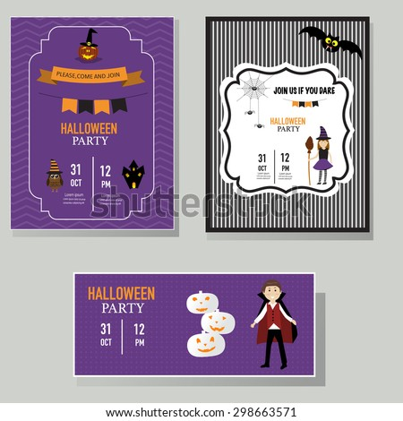 Halloween party invitation cards witch,vampire character vector. illustration EPS10. - stock vector